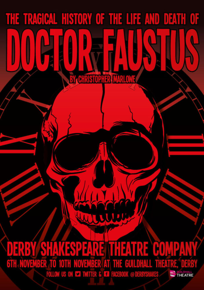 An A5 flyer for Derby Shakespeare's production of Doctor Faustus